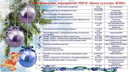 18.12.2020 - План новогодних мероприятий МБУК